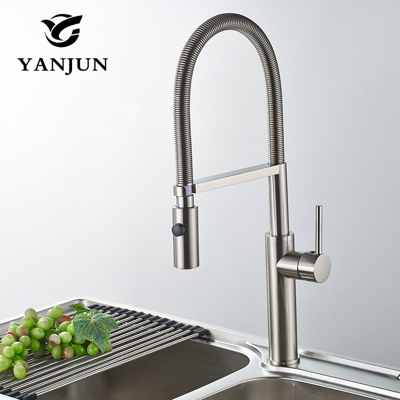Yanjun US Kitchen Faucet Brushed Pull Down Single Handle Basin Sink Deck Mounted  Swivel Mixer Cold and Hot Water Tap YJ-6654 new arrival kitchen faucet brass wall mounted black oil brushed hot and cold single lever kitchen sink faucet basin faucet mixer