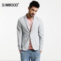 SIMWOOD 2017 Spring Casual Blazers Men 100 Pure Cotton Thin Jacket Brand Clothing XZ6121