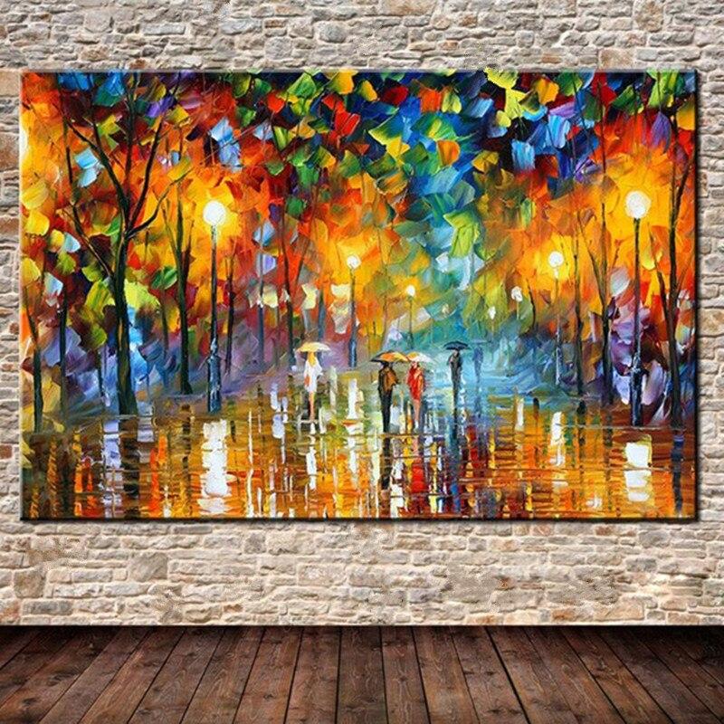 Большой нож 3D уличный пейзаж живопись дома стены искусства картины, нарисованный вручную абстрактные уличные деревья декоративный пейзаж,