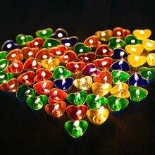 50 шт. Романтический бездымного свечи круг в форме сердца свечи декоративные свечи для дня рождения Свадебная вечеринка Home Decor