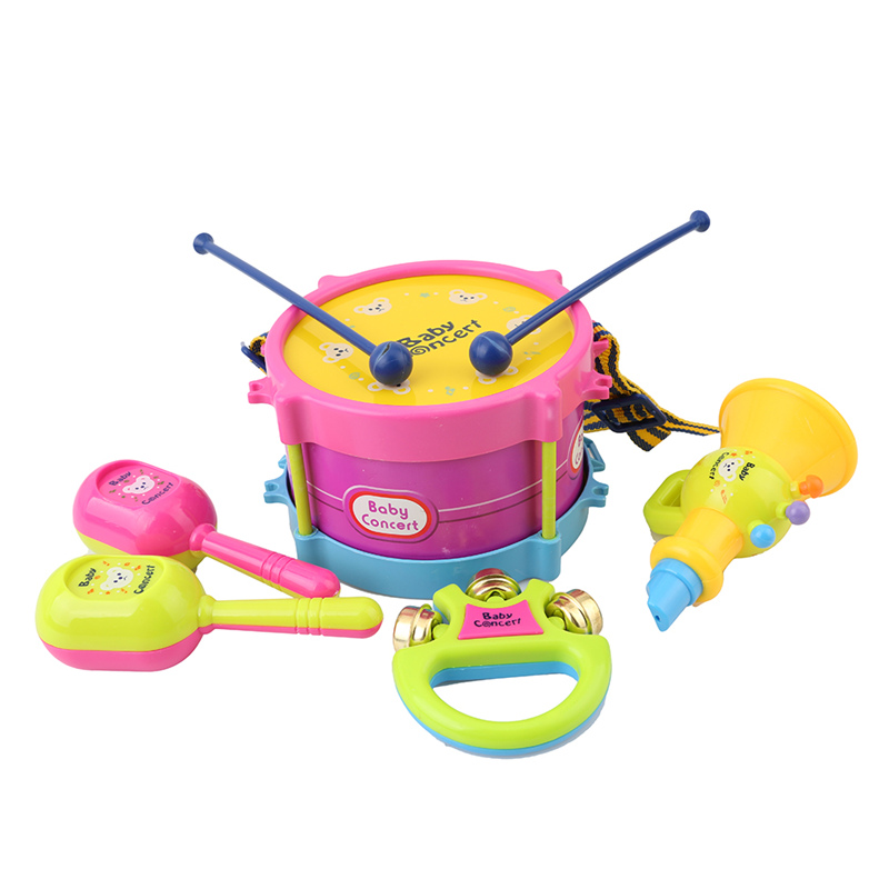 Baby & Toddler Toys 5pcs Hot Baby Roll Drum Musical Instruments Band Kit Children Toys Gift Set Drum/handbell /trumpet/sand Hammer/drum Stick Baby Rattles & Mobiles