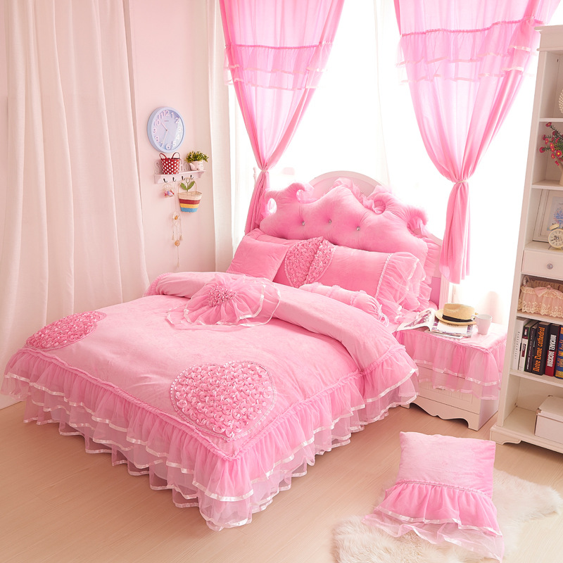 Luxury Lace 4Pcs Set Duvet Cover+Bed Skirt+Pillow Case Size King Queen Full Twin Princess Coral Fleece Wedding Gift Girl Bed Set