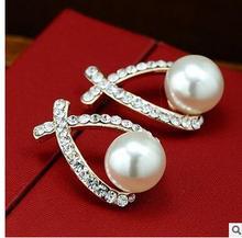 wholesale 2 Pair jewelry Brincos earring Pendientes diamond pearl earrings Korean female curve cross non
