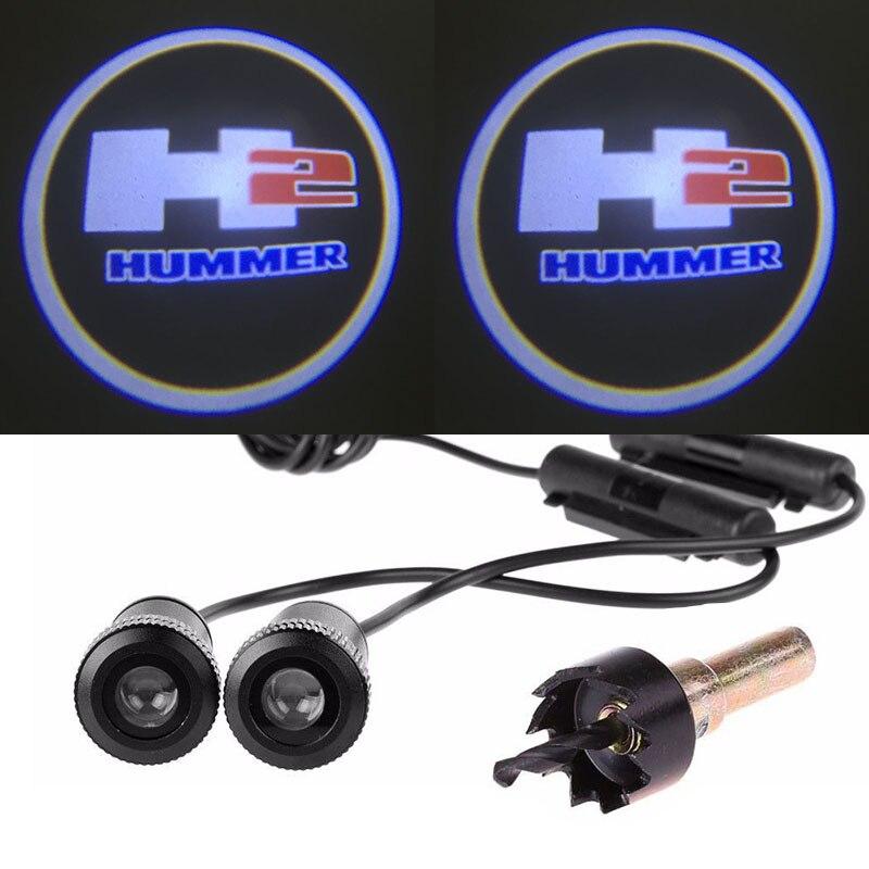 2pcs Ghost Shadow Logo welcome Car White LED Door Light Laser Courtesy Slide Projector logo Emblem light For HUMMER H2