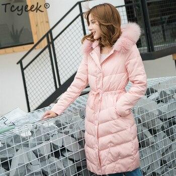Tcyeek Winter Down Jacket Women Down Coat Female Real Fox Fur Hooded Warm Pink Jackets Long Clothing Casual Outwear 2019 LWL1098
