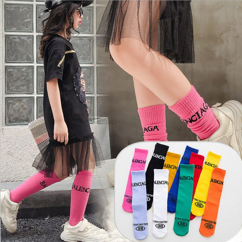 1 Pair 2019 New Children Breathable Socks Solid Baby Girls Knee Socks School Spring Summer Cotton Lace Double Needle Socks