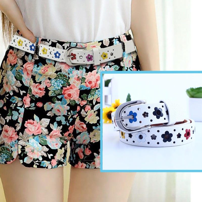 New Girl's Belt Colorful Flower Butterfly Hollow Children's Casual Pin Buckle Belt Pink White Blue Yellow Red Black Brown