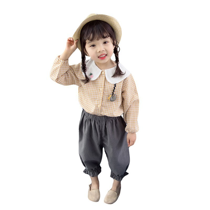 2019 Spring AutumnNew Arrivals Baby Girl Fashion Casual Long Sleeve Plaid Blouse Tops+trousers Two-piece Party Childrens Suit 2019 Spring AutumnNew Arrivals Baby Girl Fashion Casual Long Sleeve Plaid Blouse Tops+trousers Two-piece Party Childrens Suit