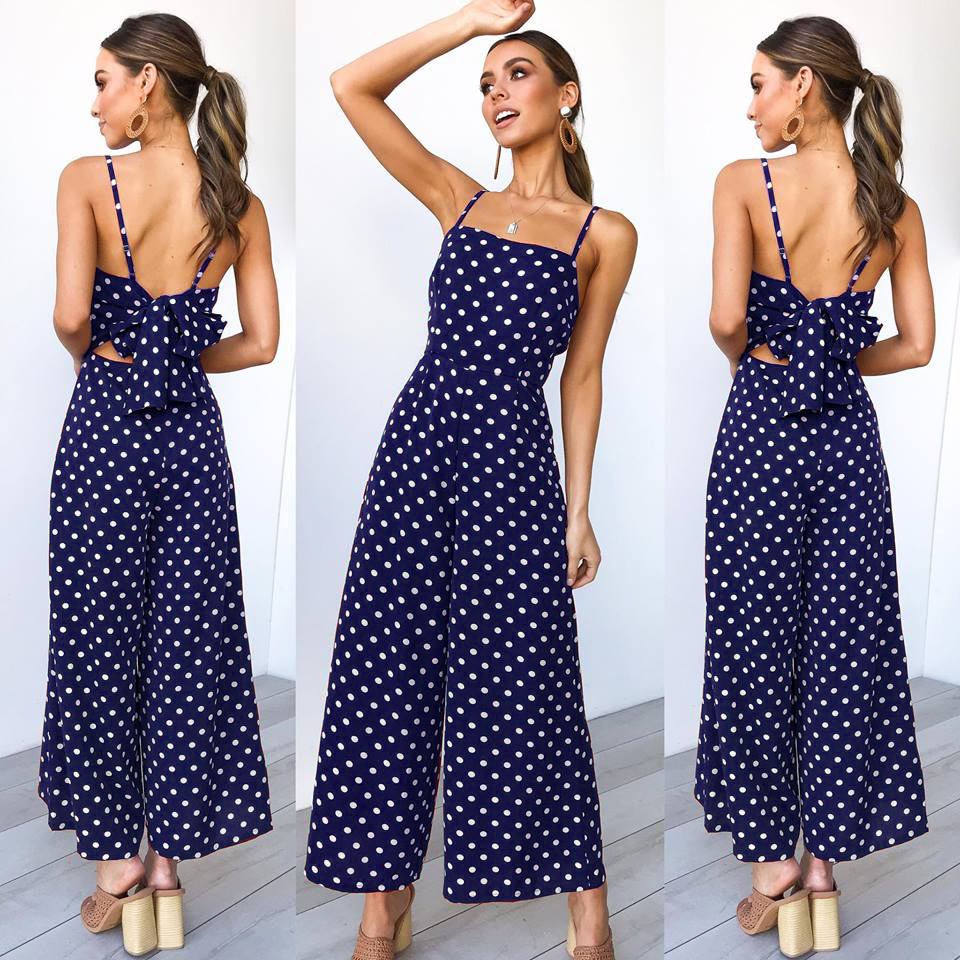 Ursohot Bow Tie Wide Leg Women   Jumpsuits   Sexy Backless Bodysuits Bohemain Rompers Playsuit 2019 Female Polka Dot Beach Wear