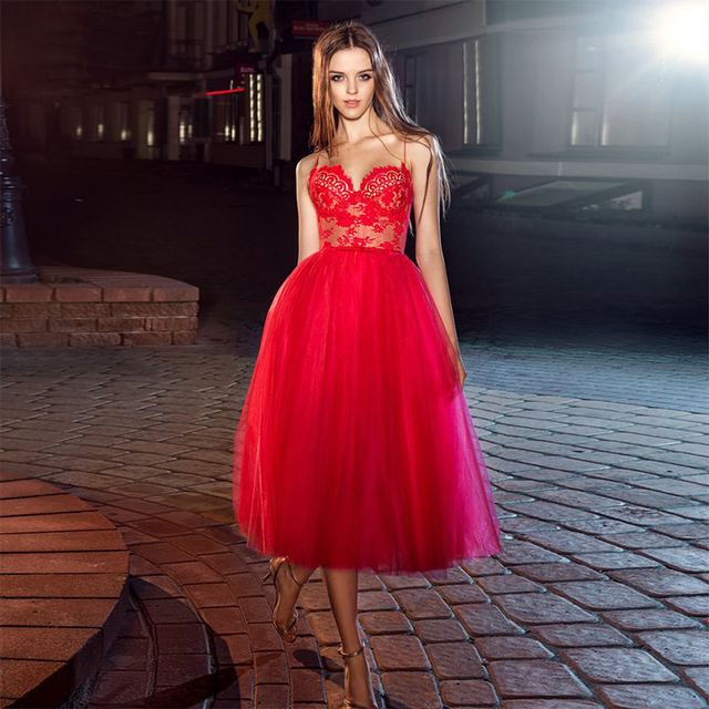 11be6e4e9e3 Red Spaghetti Strap Prom Dress Lace Sweetheart Tea-Length Coctail Dress  2017 Cheap Short Prom Dress Sexy Backless Robe Cocktail