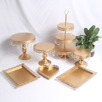 Gold Wedding Dessert Tray Cupcake Pan cake display table decoration Party Supply 7PCS / Set crystal candy bar Cake Stand