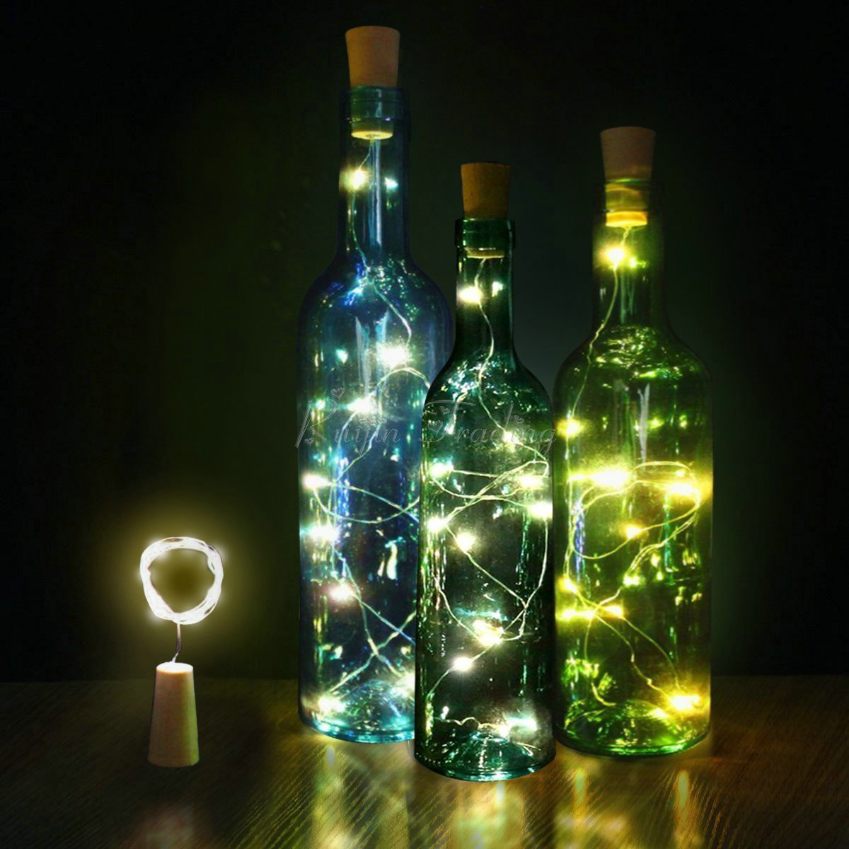 Led Table Lamps Punctual Cork Shaped Wine Bottle Stopper String Lights 2 Meters 20 Leds Silver Copper Wire Diy Christmas Halloween Wedding Party Crafts