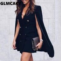 Women Double Breasted Cloak Design Blazer Dress Office Lady Solid Elegant Above Knee Mini V neck Autumn Dress