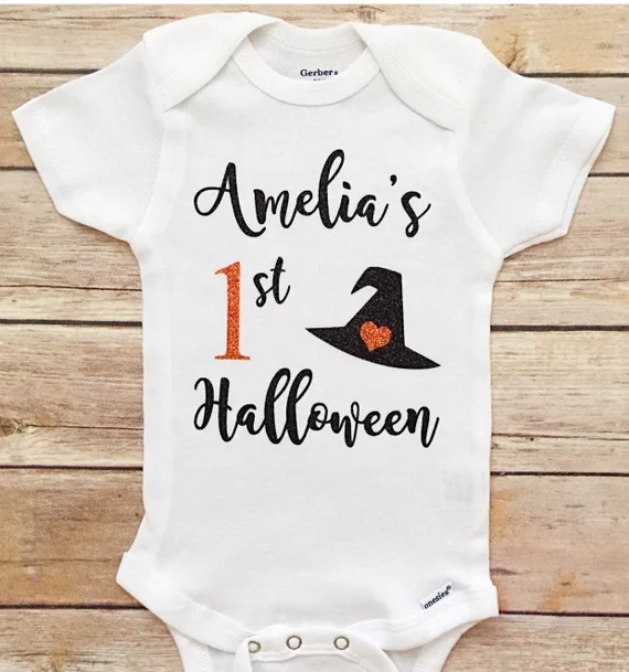 Customize any name age My First Halloween outfit kids t shirts tops  birthday gifts tees baby shower toddler outfit bodysuit 279ddbf9e8a7