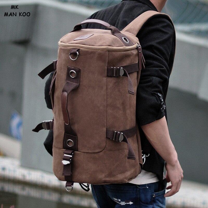 ФОТО MAN KOO MK Korean men canvas backpack letter print large travel backpack male computer multi-function backpacks PU duffle bag