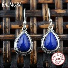 Estilo Retro 100% real 925 joyería de plata esterlina lapislázuli azul oscuro elegante pendientes de gota de agua para las mujeres regalo TRS30486