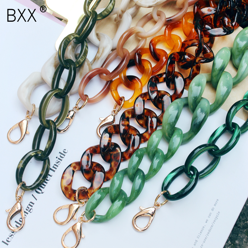 [BXX] 2020 Attractive Personality Green Color Golden Buckle Wide Long Many Colors Acrylic Bag Strap All Match LM347