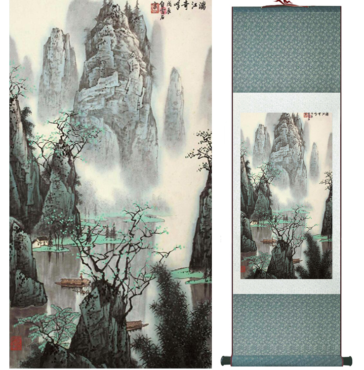 Mountain and River painting Chinese scroll painting landscape art painting home decoration picture 041311