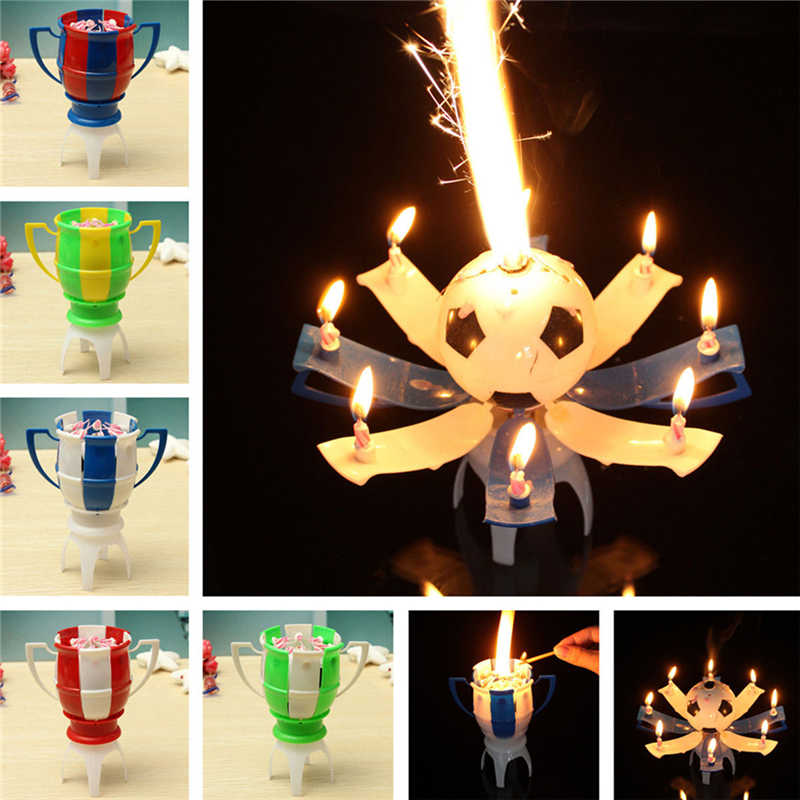 8 Light Candle Musical Romantic Birthday Candle Rotating Football Cup Soccer Musical Candle Happy Birthday Party Cake 11.5*14cm