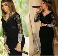 Saudi Arabia Long Black Evening party gown Beadings Sexy Prom Gown 2018 lace Mother of the Bride Dresses With long sleeve
