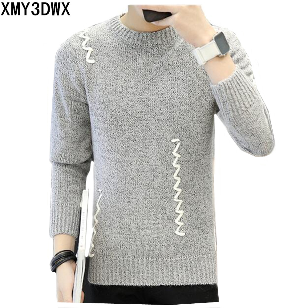 Korean Winter Long Sleeve Pullover Sweater Men 2017 Personality Embroidery Men Sweaters Knitwear Round Neck Casual Design