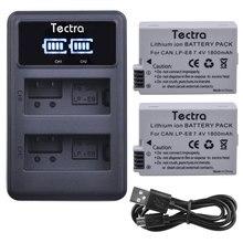 Tectra 1800 mAh 2 шт LP-E8 LPE8 LP E8 Батарея Акку для Canon EOS 550D 600D 650D 700D X4 X5 X6i Батарея + светодиодный USB двойной Зарядное устройство