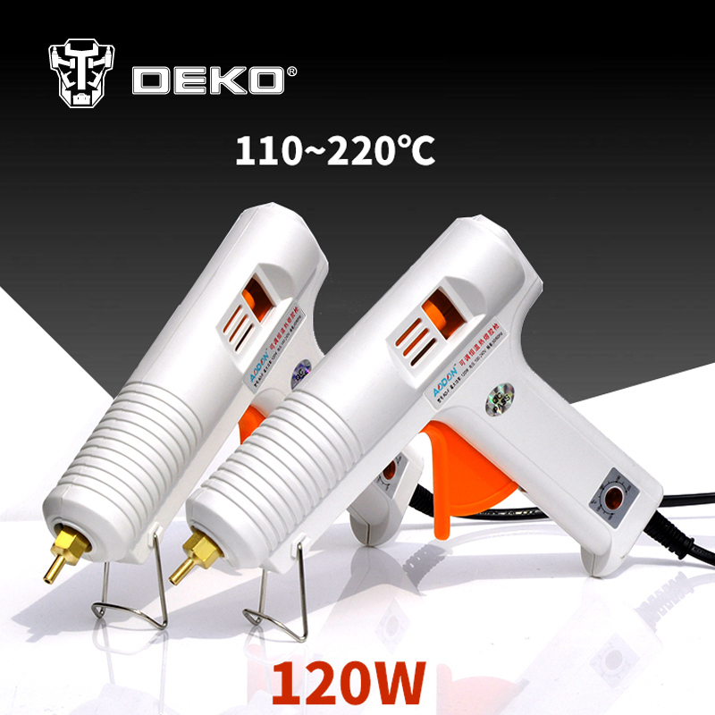 DEKOPRO 120W Hot Melt Glue Gun with 1pc 11mm Glue Stick Heat Temperature Tool Industrial Guns Thermo Gluegun Repair Heat Tools sgs 220 degree professional hot melt glue gun 60w 100w double power fit 11 mm stick temperature repair tool glue gun hm8061t