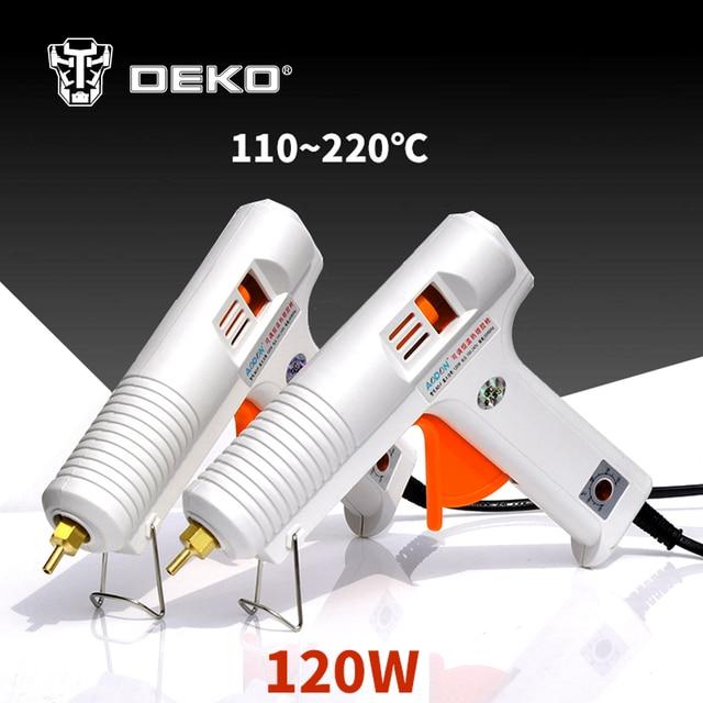 DEKOPRO 120W Hot Melt Glue Gun with 1pc 11mm Glue Stick Heat Temperature Tool Industrial Guns Thermo Gluegun Repair Heat Tools