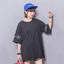 2016 European Style Loose T-shirt For Women Big Size Cool Pin Patchwork Punk Tees Pregnant Women Hipster Large Tees New Arrival