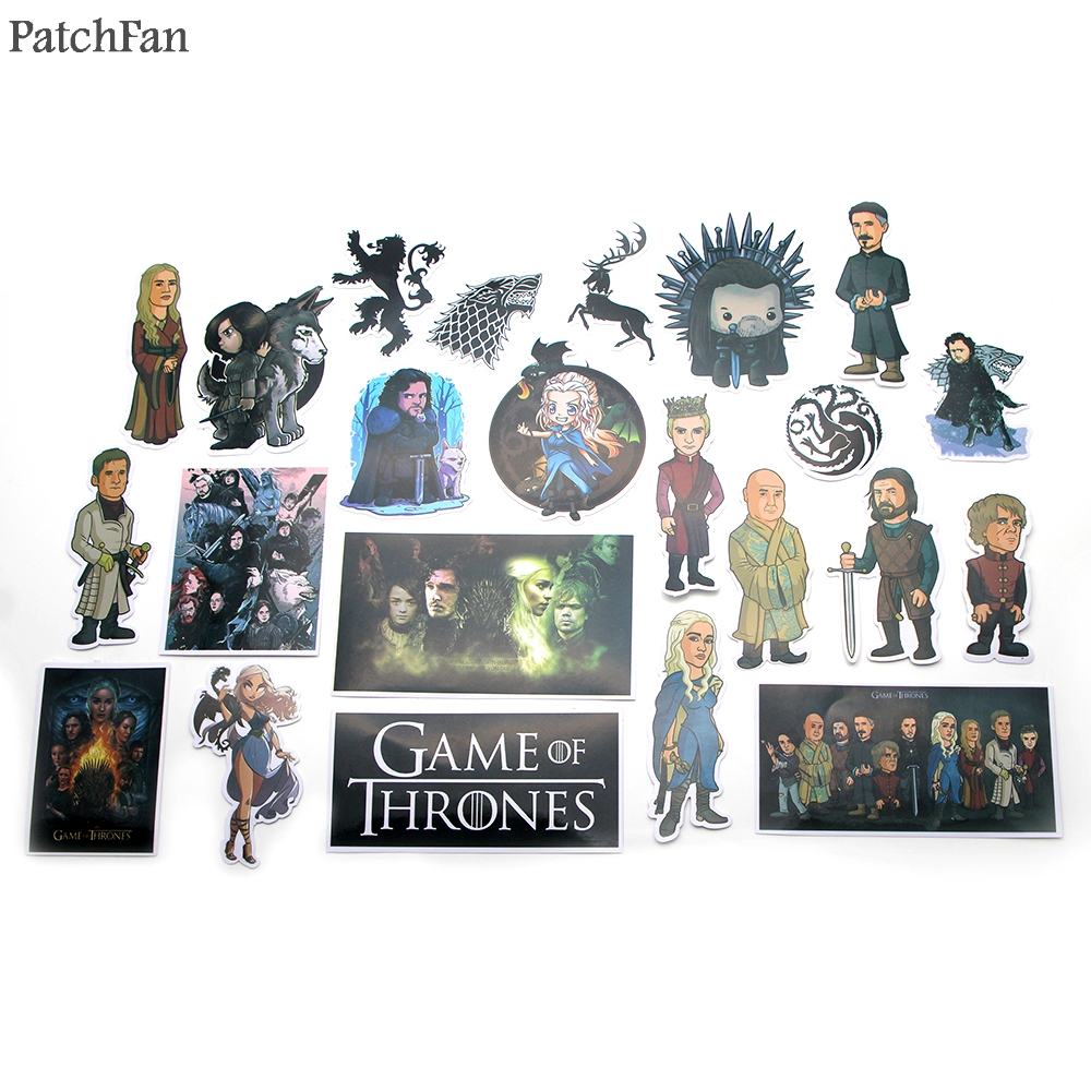 Patchfan 23pcs game of thrones Pvc Waterproof Stickers For diy scrapbooking Luggage Skateboard Laptop Bicycle Wall Guitar A0938