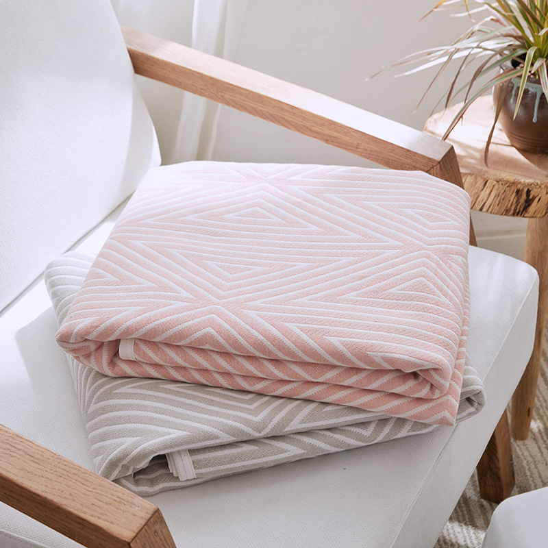 Soft Cotton Blankets On The Bed Japan Style Summer Quilt Pink Khaki Bed Linens Twin Queen Size Anti Pilling Bedspread Blanket