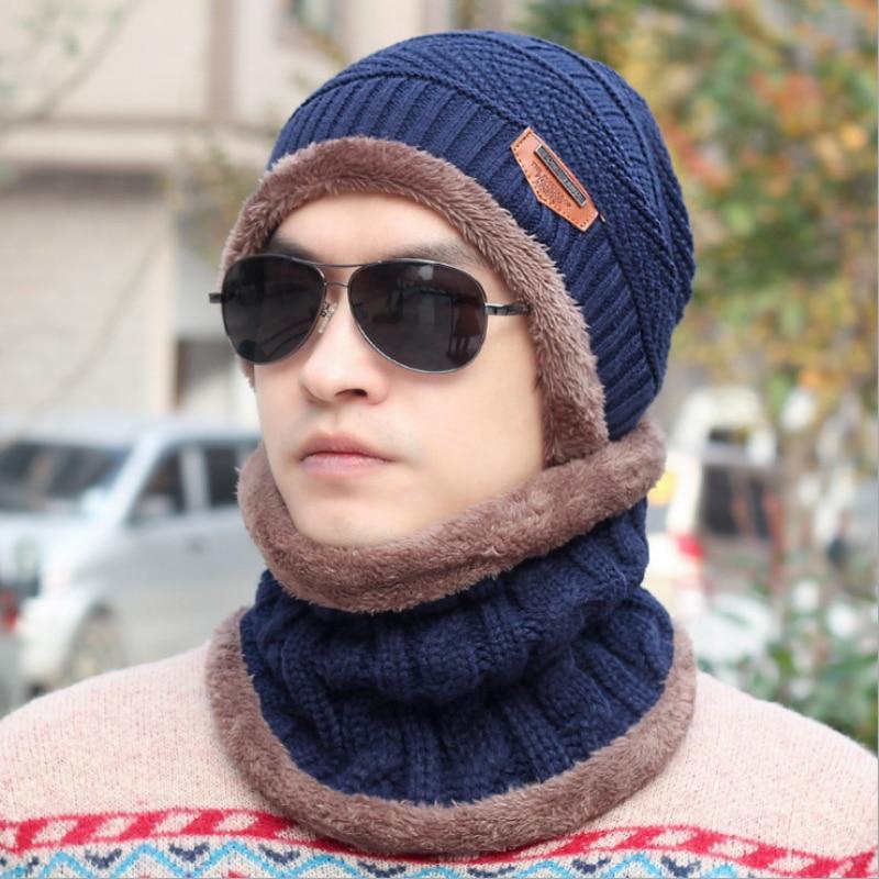 a0c97754dc6b9c HT770 Brand Beanies Knit Men's Winter Hat Cap Skullies Bonnet Winter Hats  For Men Beanie Warm Baggy Knitted Hat and Scarf Set