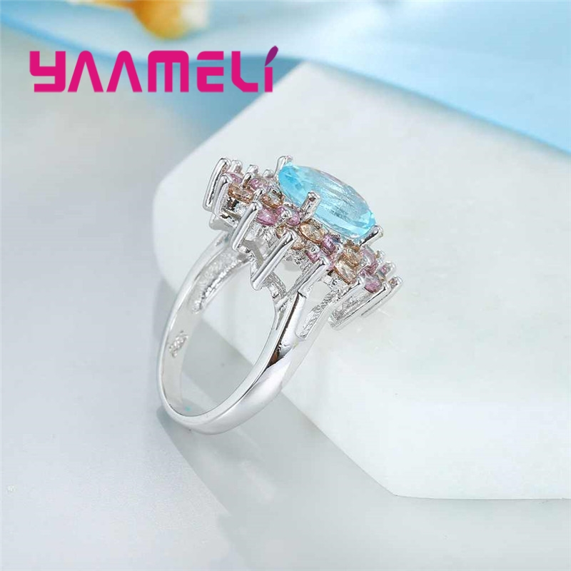 YAAMELI Luxury Flower Promise Rings for Lady Pure 925 Sterling Silver with Big Round CZ Crystal Cubic Zircon Gift Bague Jewelry