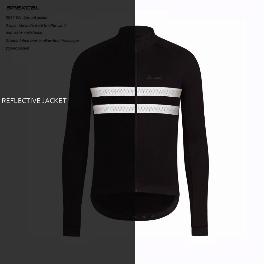 SPEXCEL top qualité 0 degrés Réfléchissant Hiver Coupe-Vent Veste de Vélo Hiver polaire thermique soft shell vêtements de Cyclisme noir