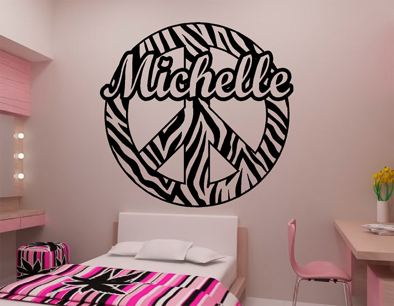 Personalized Custom Name Zebra Stripe Peace Sign Vinyl Wall Decal Sticker  Zebra Print Decor ...