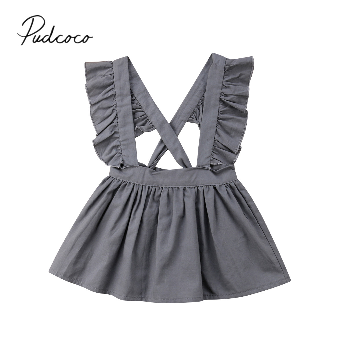 2018 Brand New Newborn Infant Baby Girl Estate 0-24 M Sweet Dress Ruffles Solid Backless Croce A-line Al Ginocchio-lunghezza Tuta Vestito