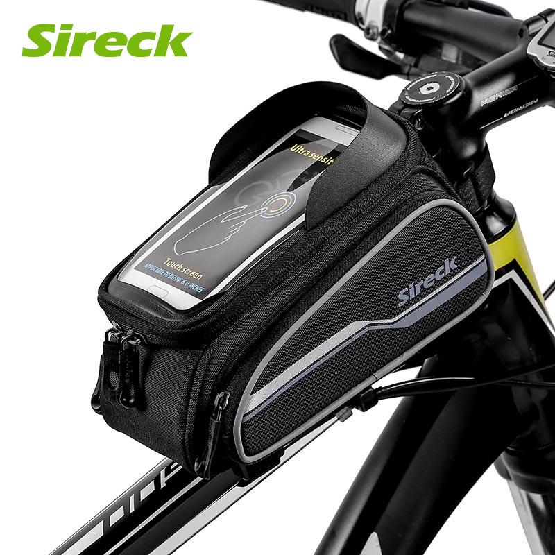 Sireck Road Mountain Bike Bag Tilbehør Cykel Front Bag Touchscreen Cycling Frame Bag Top Tube Pannier For 6,0 tommer