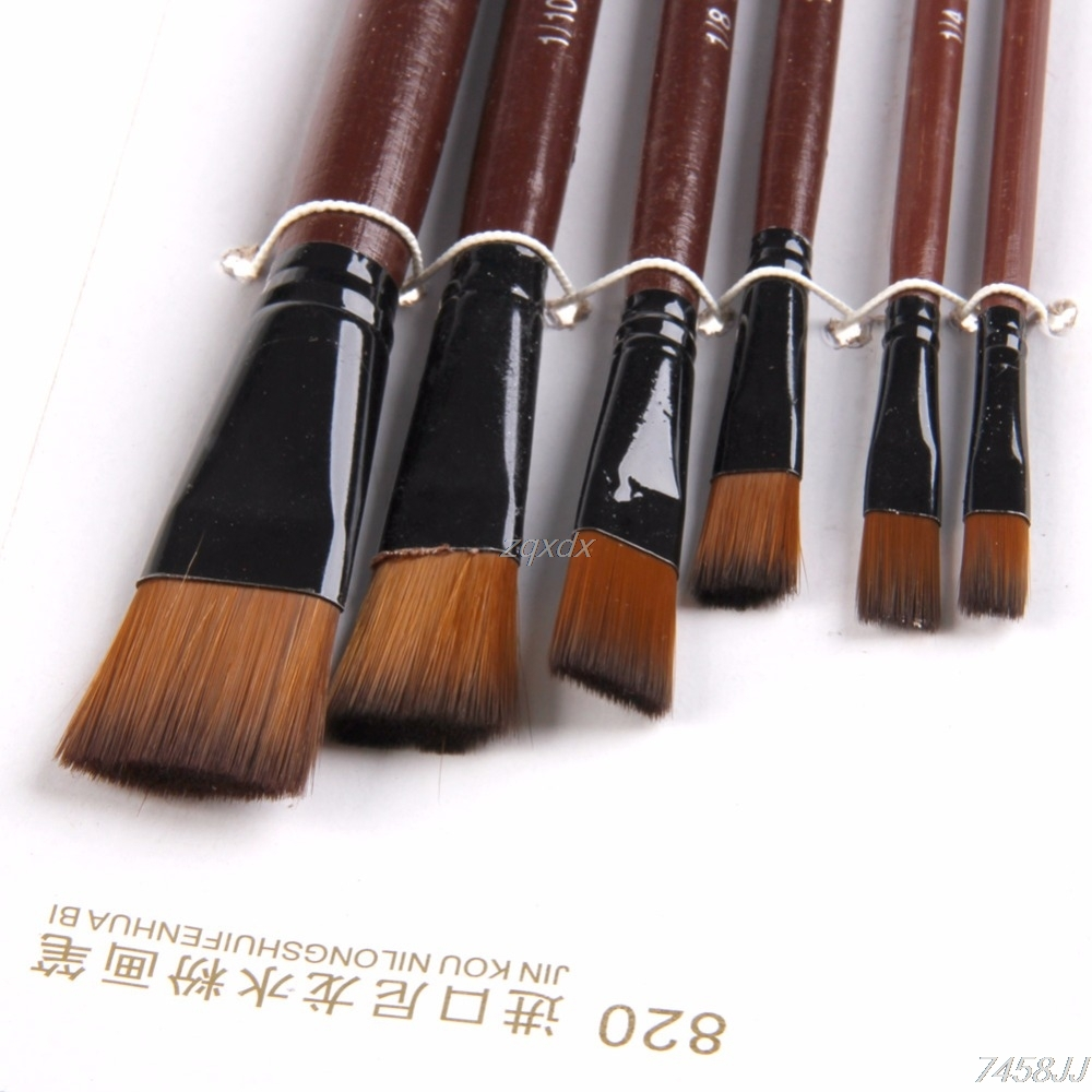 6X Brown Nylon Acrylic OilPaint Brushes For Art Supplies Watercolor Set Whosale&Dropship