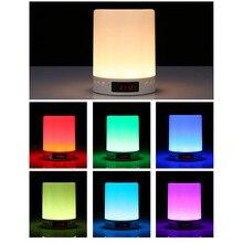 Alarm Clock Bluetooth Speaker Colorful LED Wake Up Night Light Bedside Lamp