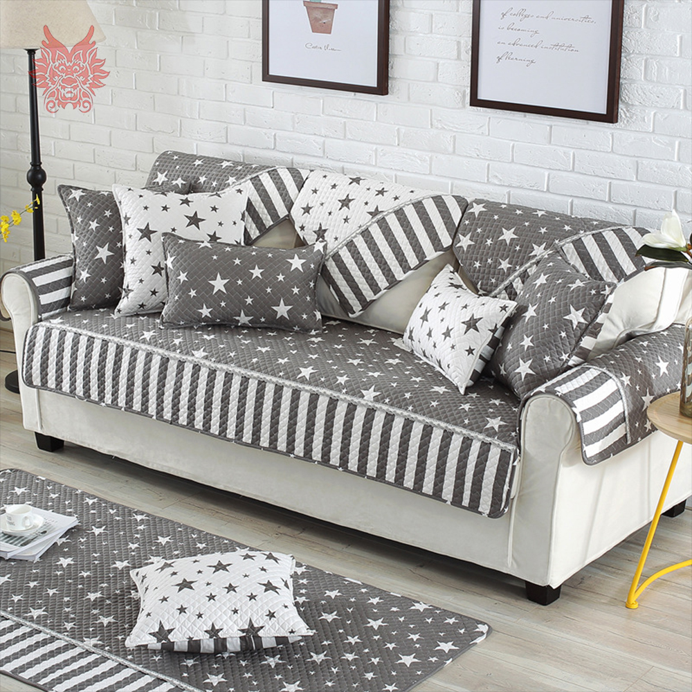 Us 12 69 46 Off Modern Style Grey White Star Printed Sofa Cover Quilted Slipcovers Cotton Anti Slip Canape Furniture Cover Fundas De Sofa Sp4445 In