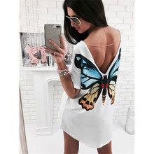 Women Summer Fashion Print Sexy Deep V Backless Short Sleeves Long T-shirt Tops