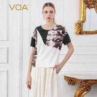 VOA летние шорты рукавом тройник Для женщин шелк Футболка принт Повседневное женские топы основные большой Размеры уличная с перламутровыми