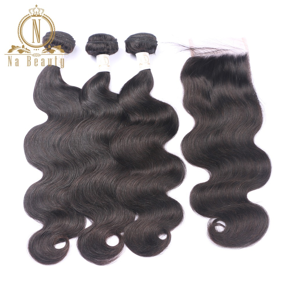 Brazilian Body Wave Human Hair 3 Bundles With Lace Closure Remy Hair Weaving Extensions Pre Plucked Natural Color Hair Weft