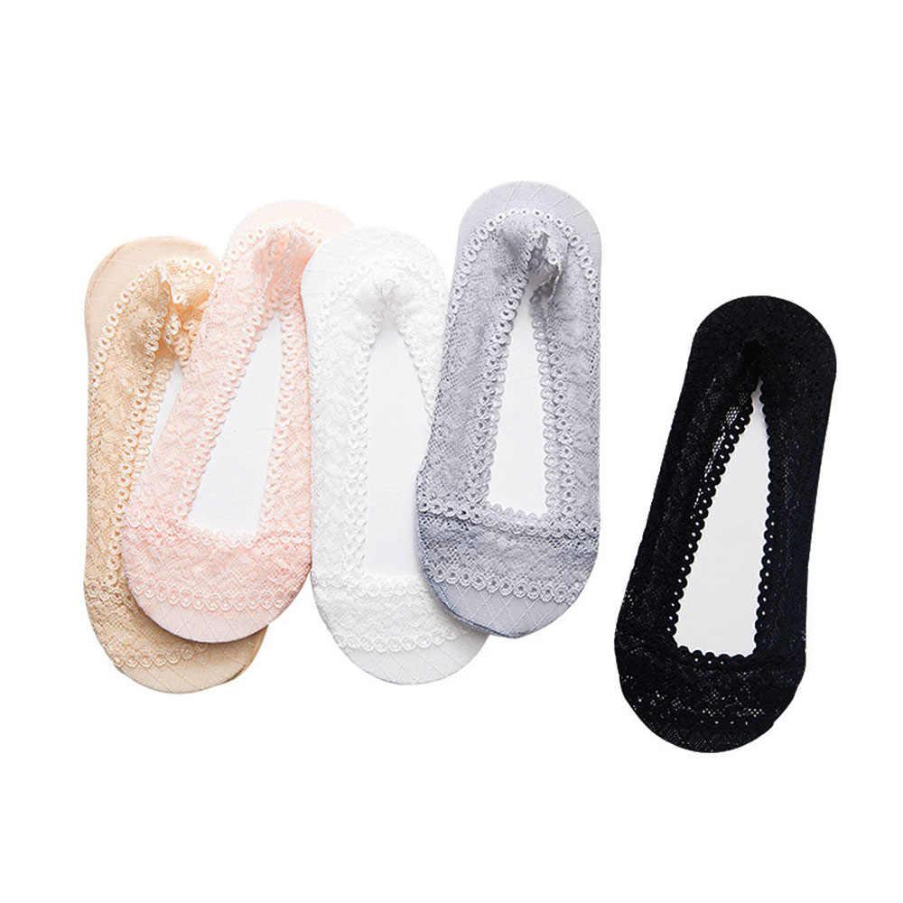 Yaz kadın kız silika jel dantel tekne çorap görünmez pamuk taban kaymaz Antiskid terlik kaymaz çorap dantel çorap