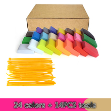 24 colors polymer clay fimo +14PCS tools Clay suit, silly putty, color pottery mud diy sculpture