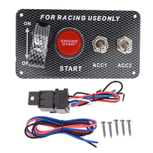цена на 12V Ignition switch panel for Racing Car Engine Start Button push button integrated LED Toggle Panel for Car Boat Marine Truck