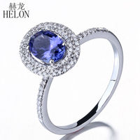 HELON 5x7mm Oval Shape Tanzanite & Pave Natural Diamond Engagement Wedding Women's Jewelry Fine Ring Solid 10K White Gold
