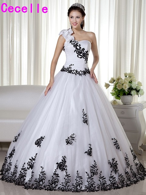 Black And White One Shoulder Ball Gown 2018 Wedding Dresses Vintage ...