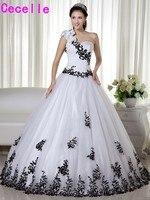 Màu đen Và Trắng Một Vai Bi Gown Wedding Dresses Cổ Điển với Dây Đai Đầy Màu Sắc Không Trắng Robe De Mariee Với Màu Sắc 2017