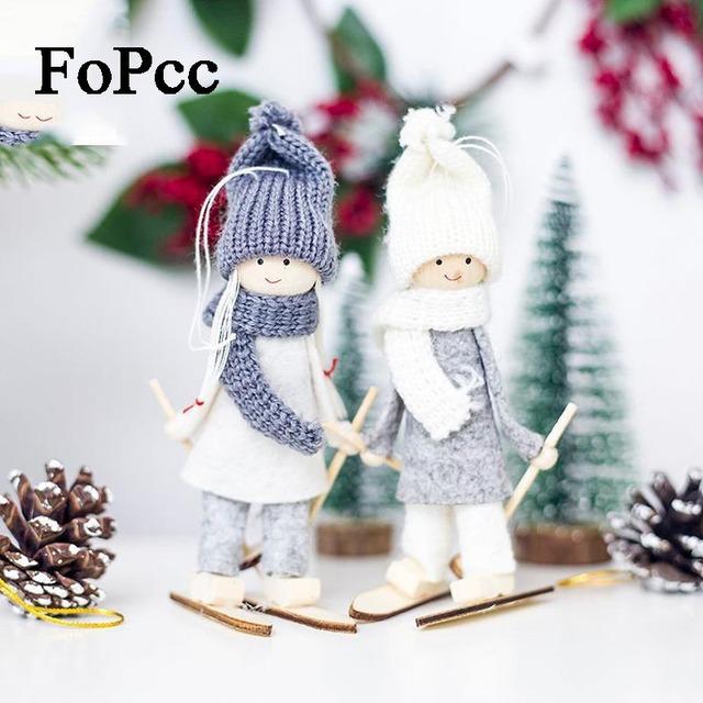 Creative Kawaii Christmas Angel Girl Ski Pendant Christmas Tree Decoration For Home Xmas Cute Doll Party Decoration Kids Gift
